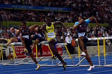 A blanket finish for the men's gold medal in the 110m Hurdles (L-R) Terrence Trammell of United States (silver), Ryan Brathwaite of Barbados (gold) and David Payne of the USA (bronze) (Getty Images)