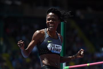 Chaunte Lowe at the 2016 IAAF Diamond League meeting in Eugene (Kirby Lee)
