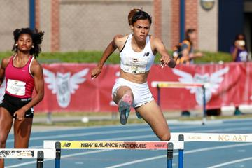 Sydney McLaughlin en route to a world U18 best for the 400m hurdles at the 2016 New Balance National High School Championships (Victah Sailer)