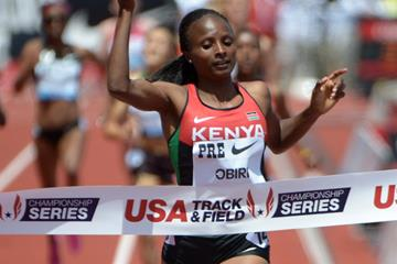 Hellen Obiri wins the 1500m at the IAAF Diamond League meeting in Eugene (Kirby Lee)