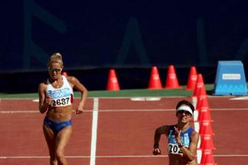 Athanasia Tsoumeleka of Greece and Olimpiada Ivanova of Russia - gold and silver in the 20km Walk (Getty Images)