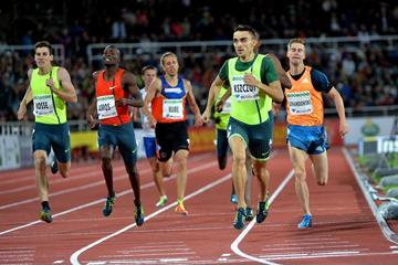Adam Kszczot winning the 800m at the 2014 IAAF Diamond League meeting in Stockholm (DECA Text & Bild)