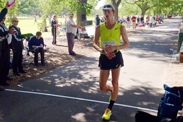 Canada's Evan Dunfee wins the 50km race walk in Melbourne (Athletics Australia)