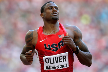 David Oliver in the 110m hurdles at the IAAF World Championships Beijing 2015 (Getty Images)