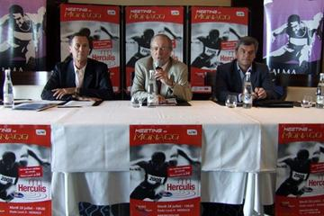 'Herculis 2009' press conference Monday 20 July, Fairmont Hotel, Monte-Carlo: (l to r) Meeting Director Jean-Pierre Schoebel, FMA Vice-President Bernard Fautrier, IAAF Communications Director Nick Davies (Chris Turner)