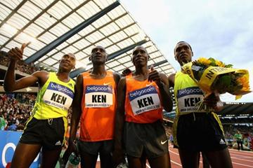The Kenyan team celebrate their World record in the 4x1500m relay (Getty Images)