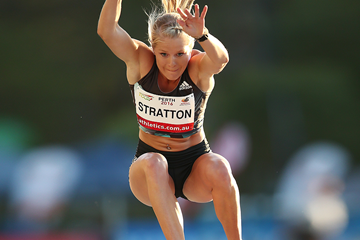 Brooke Stratton wins the long jump in Perth with an Oceanian record of 7.05m (Getty Images)