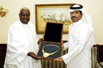 IAAF President Lamine Diack with the Emir's representative, Jassim Bin Thamer Al Thani, a Vice President of the Qatari Olympic Committee (Qassim Rahmmtullah)