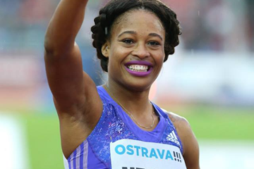 Sharika Nelvis after winning the 100m hurdles in Ostrava (Organisers / Luděk Šipla)