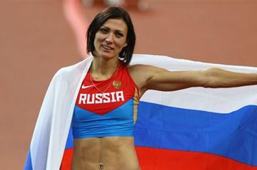 Natalya Antyukh of Russia celebrates winning gold in the Women's 400m Hurdles Final on Day 12 of the London 2012 Olympic Games at Olympic Stadium on August 8, 2012 (Getty Images)