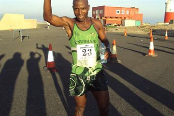 Lucas Nonyana (RSA) after his victory at the IAU 50km Trophy Final in Gibraltar (Nadeem Khan)
