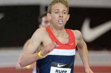 Galen Rupp en route to a U.S. Two Mile record in Fayetteville (Kirby Lee)