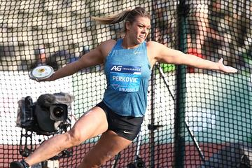 Sandra Perkovic at the 2015 IAAF Diamond League final in Brussels (Giancarlo Colombo)