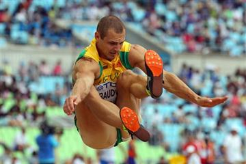 Darius Draudvila competes in the Decathlon Long Jump in Daegu (Getty Images)