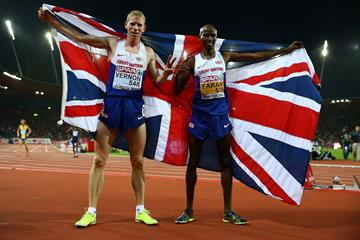 Andy Vernon and Mo Farah after the 10000m at the 2014 European Athletics Championships (Getty Images)