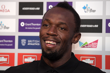 Usain Bolt at the press conference for the IAAF Diamond League meeting in London (Kirby Lee)