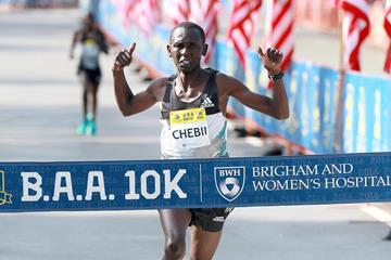 Daniel Chebii winning the BAA 10k in Boston (Victah Sailer)