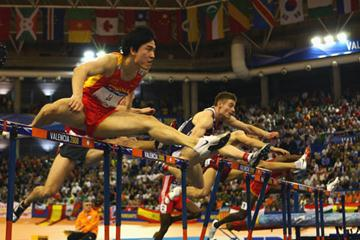 Liu Xiang on his way to 60m hurdles gold (Getty Images)