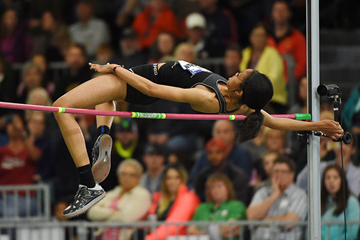 Vashti Cunningham wins the high jump at the US Indoor Championships (Kirby Lee)