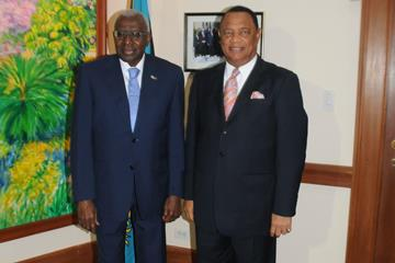 IAAF President Lamine Diack and The Prime Minister of The Bahamas The Rt. Hon. Perry Gladstone Christie and  (Peter Ramsay, PMO Photographer)