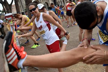 USA's Erin Talcott before the 50km at the IAAF World Race Walking Team Championships Rome 2016 (Getty Images)