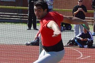 Argentina's Jorge Balliengo setting a South American record in the discus, reaching 66.32m in Rosario (CADA)