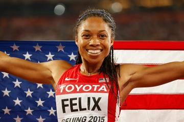 400m winner Allyson Felix at the IAAF World Championships, Beijing 2015 (Getty Images)