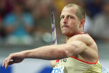 Mark Frank of Germany competes in the men's Javelin Throw qualification at the 12th IAAF World Championships in Athletics (Getty Images)