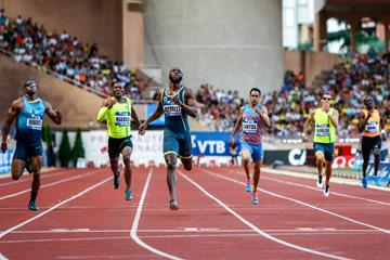 LaShawn Merritt winning the 400m at the 2014 IAAF Diamond League meeting in Monaco (Philippe Fitte)