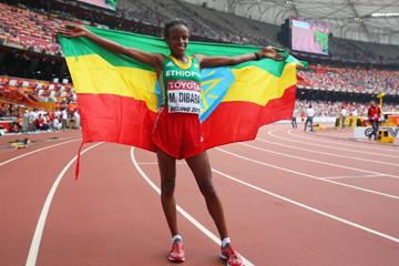 Marathon winner Mare Dibaba at the IAAF World Chamionships, Beijing 2015 (Getty Images)