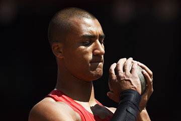 Ashton Eaton in the decathlon shot put at the IAAF World Championships, Beijing 2015 (Getty Images)