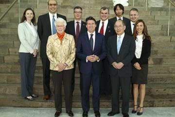 The IAAF Evaluation Commission (EVCOM), under the chairmanship of IAAF Vice President Sebastian Coe (centre) (IAAF)