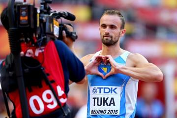 Amel Tuka lines up for the 800m at the IAAF World Championships, Beijing 2015 (Getty Images)