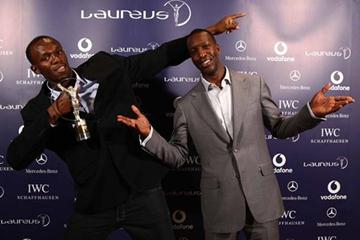 Usain Bolt and Michael Johnson at the presentation of the Laureus World Sports Award in Toronto (Laureus)