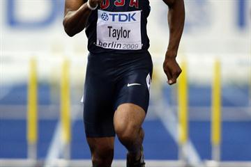 Two time Olympic 400m hurdles champion Angelo Taylor crashes out of the heats in Berlin (Getty Images)