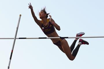 Li Ling, winner of the pole vault at the IAAF Continental Cup, Marrakech 2014 (Getty Images)