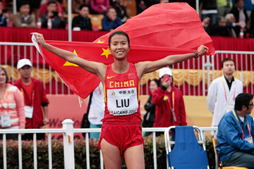 China's Liu Hong after the 20km race walk at the IAAF World Race Walking Cup Taicang 2014 (Getty Images)