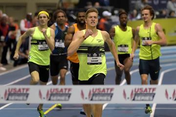 600m winner Casimir Loxsom at the 2015 US Indoor Championships (Kirby Lee)