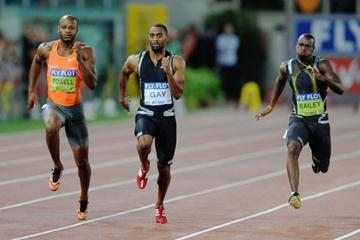 Tyson Gay leads Asafa Powell and Daniel Bailey under 10 seconds in the 100m (Getty Images)