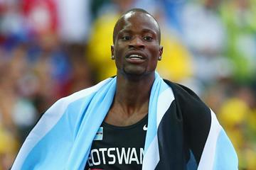 Nijel Amos celebrates his victory in the 800m (Getty Images)