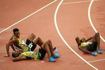 The Jamaican team after the 4x400m at the IAAF World Championships, Beijing 2015 (Getty Images)