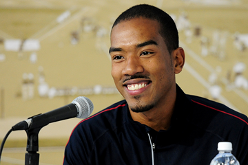 US triple jumper Christian Taylor speaks to the press (Getty Images)