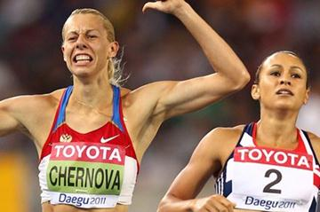 Tatyana Chernova and Jessica Ennis in Daegu (Getty Images)