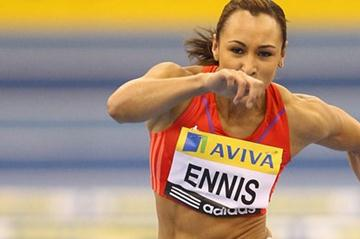 Jessica Ennis hurdling in Birmingham (Getty Images)