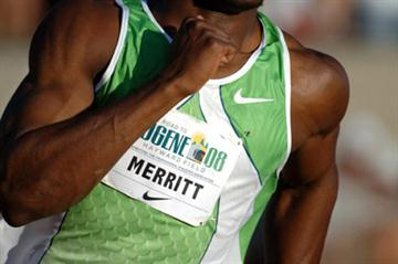 LaShawn Merritt won the 300m in the Road to Eugene '08 Meet (Kirby Lee/Image of Sport)