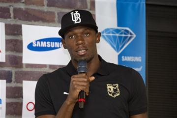 Usain Bolt at the pre-event press conference at the 2011 DN Galan - Samsung Diamond League - Stockholm (Hasse Sjogren / DECA Text&Bild)