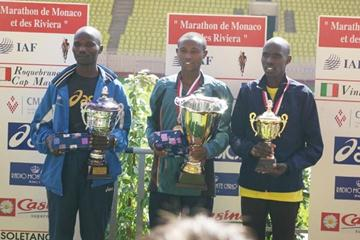 The men's podium at the 2008 Monaco Marathon (Monaco Marathon)