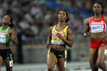 Shelly-Ann Fraser-Pryce in action in the semi-final of the women's 100m in Daegu (Getty Images)