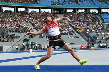 Japan's Yukifumi Murakami throws the javelin during the IAAF World Championships in the Berlin Olympic Stadium (Getty Images)