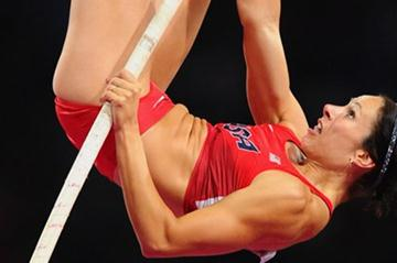 Jennifer Suhr of the United States competes in the Women's Pole Vault final on Day 10 of the London 2012 Olympic Games at the Olympic Stadium on August 6, 2012 (Getty Images)